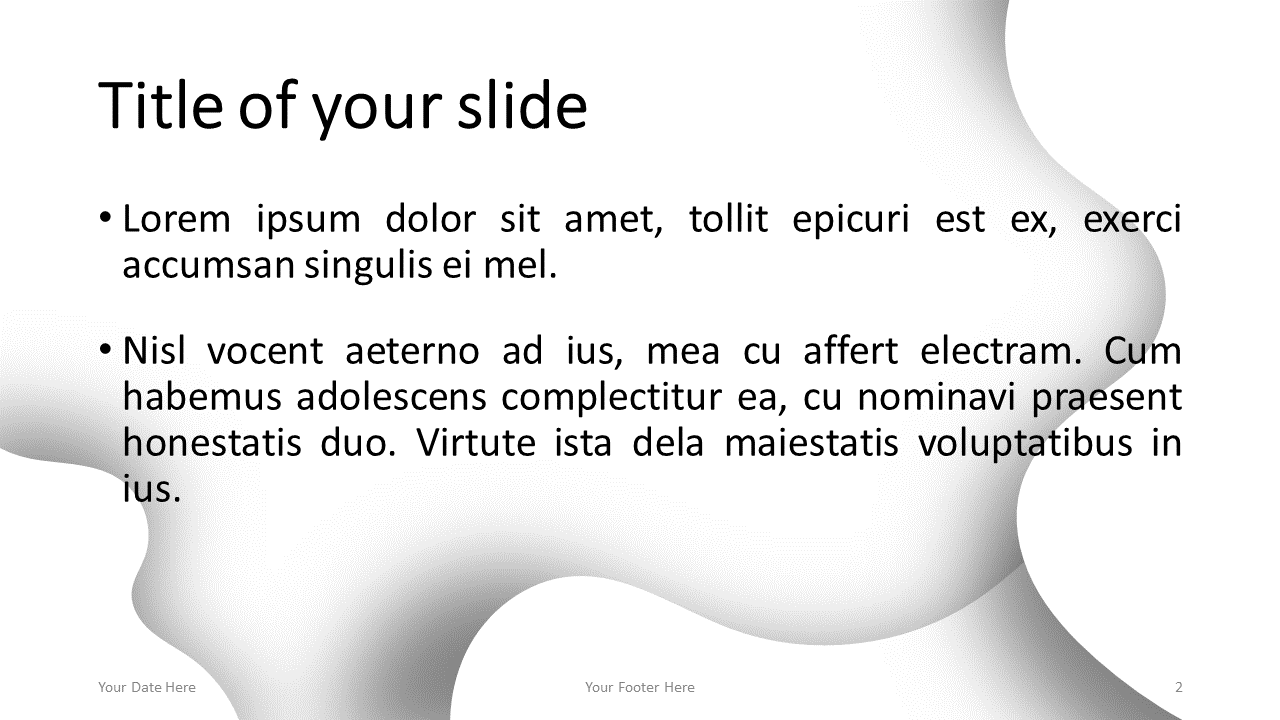 Fluids Free PowerPoint Template (White) - Title and Content