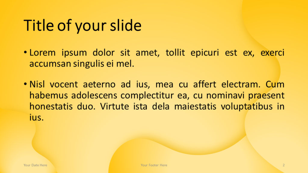 Fluids - Free PowerPoint Template (Yellow) - Title and Content Layout