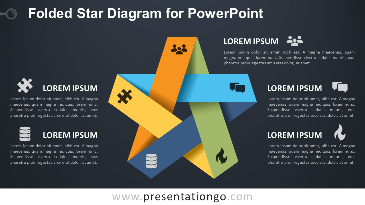 Free Folded Star for PowerPoint - Dark Background