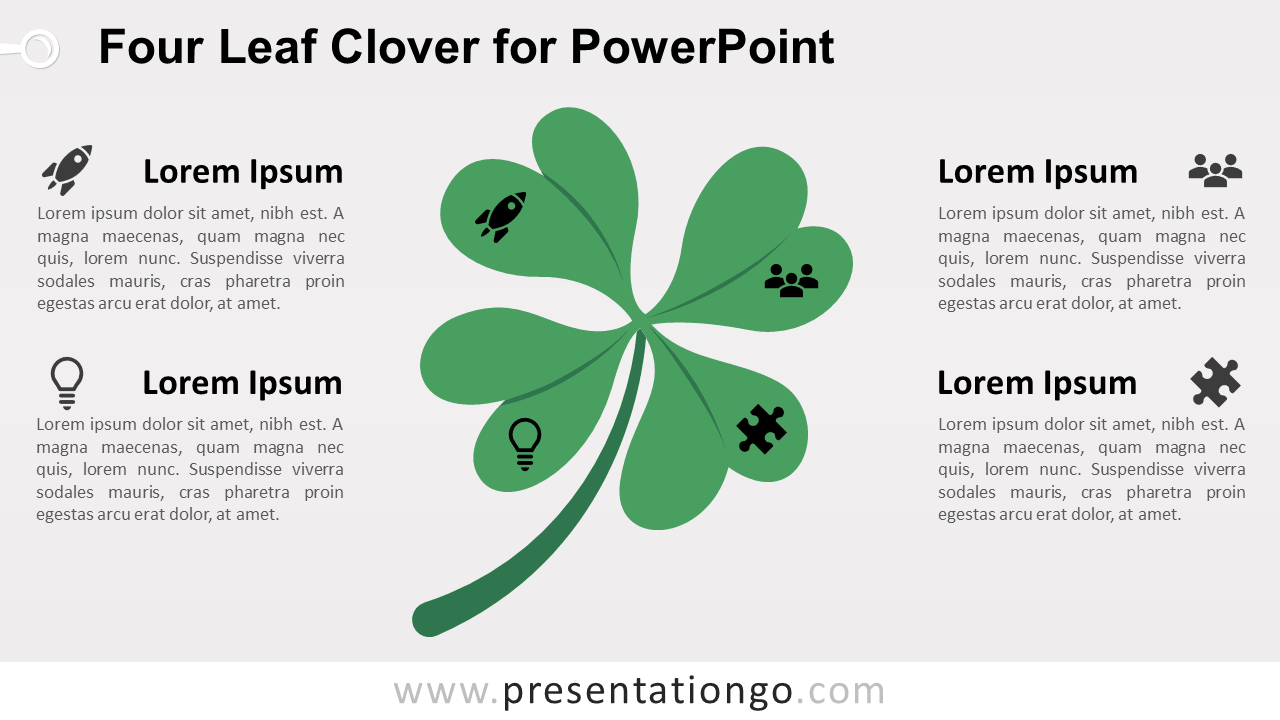 Four-Leaf Clover PowerPoint Template