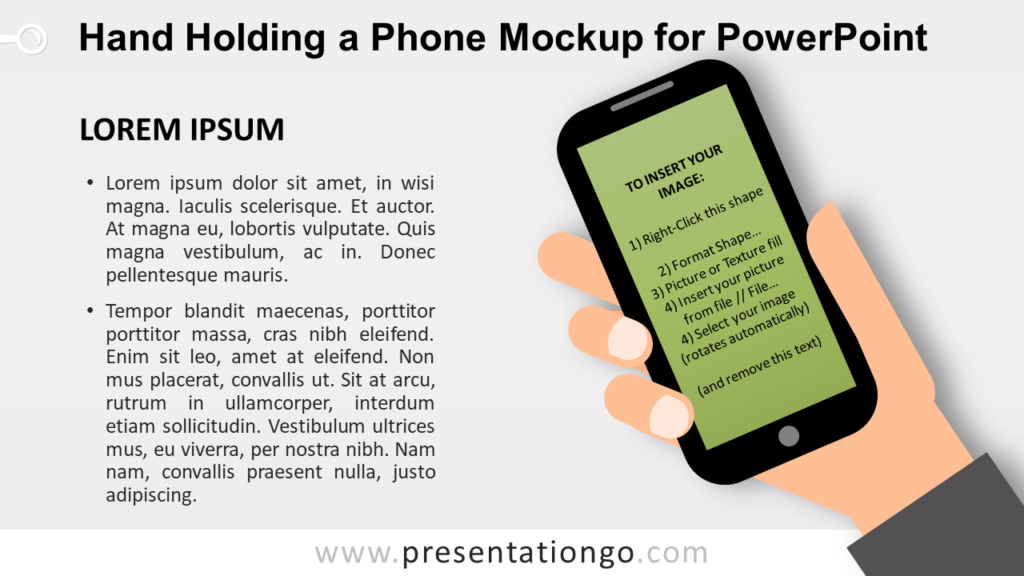 Hand Holding a Mobile Phone Mockup for PowerPoint - Screen Shape