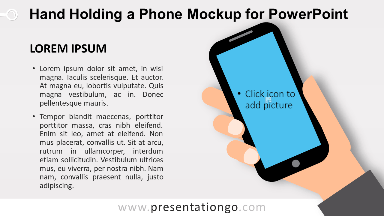 Hand Holding a Mobile Phone Mockup for PowerPoint