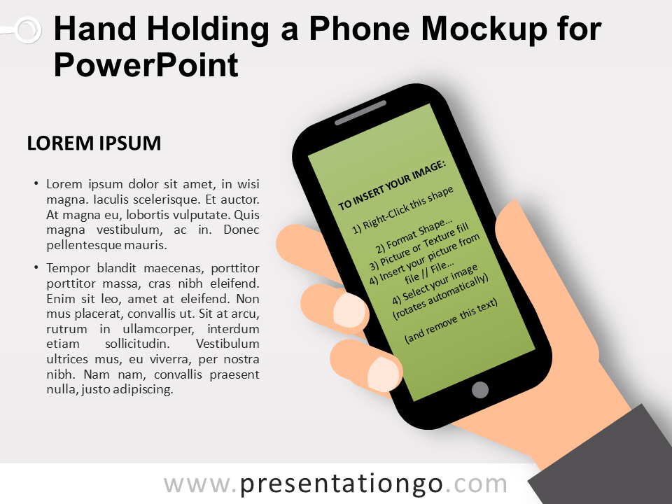 Hand Holding a Phone Mockup for PowerPoint - Dark Background - Screen Shape
