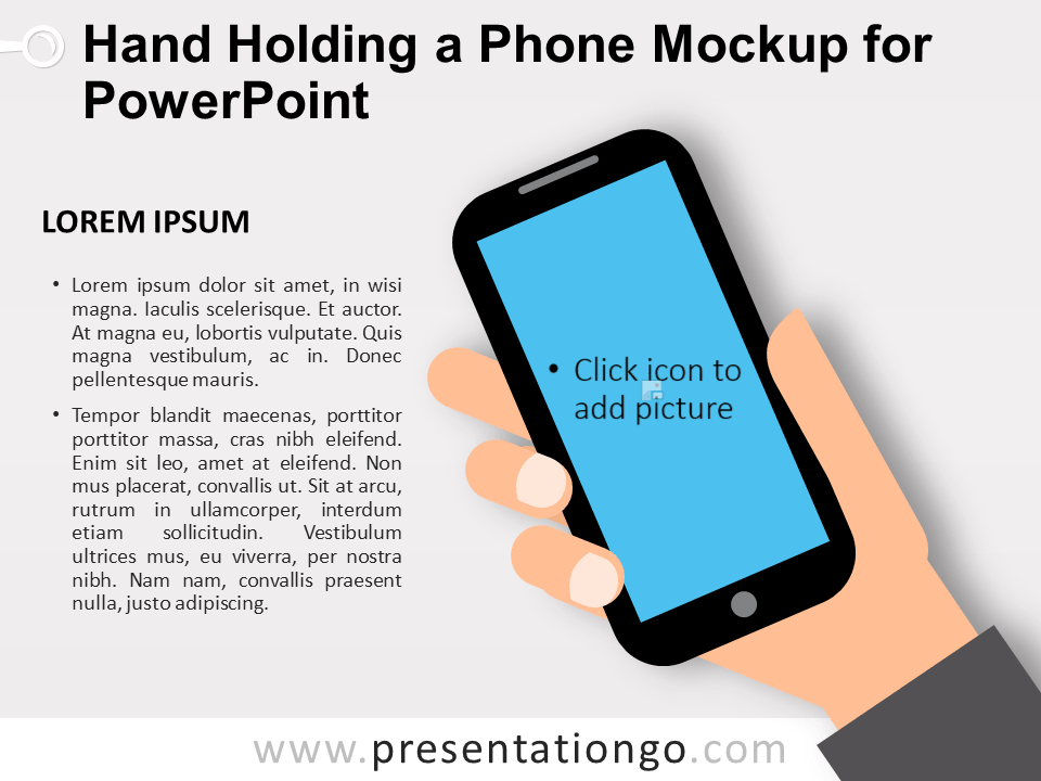 Free Hand Holding a Phone Mockup for PowerPoint
