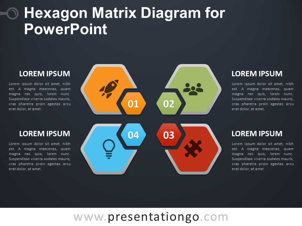 Free Hexagon Matrix Diagram for PowerPoint - Dark Background