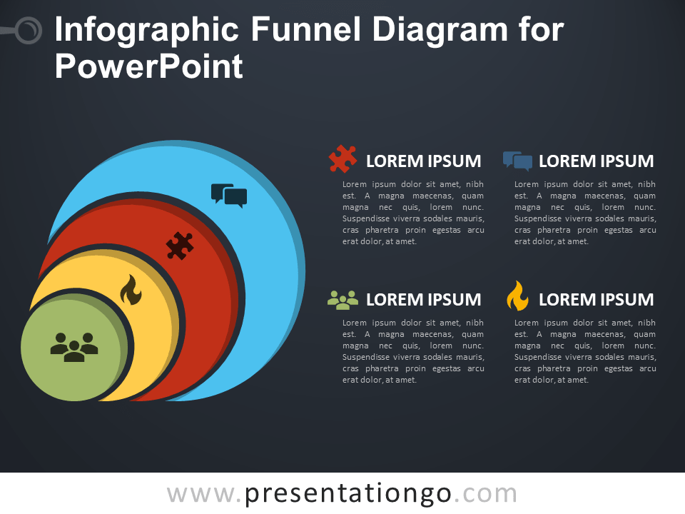 Free Infographic Funnel Diagram for PowerPoint - Dark Background