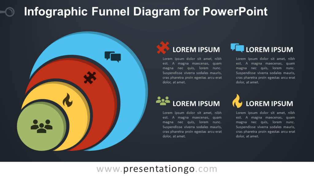 Free Infographic Funnel for PowerPoint - Dark Background