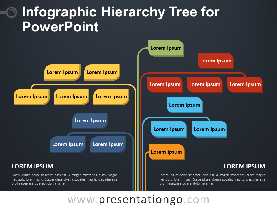 Free Infographic Hierarchy Tree for PowerPoint - Dark Background