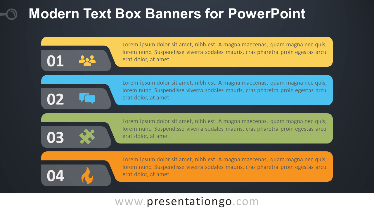 Free Modern Horizontal Text Boxes for PowerPoint - Dark Background