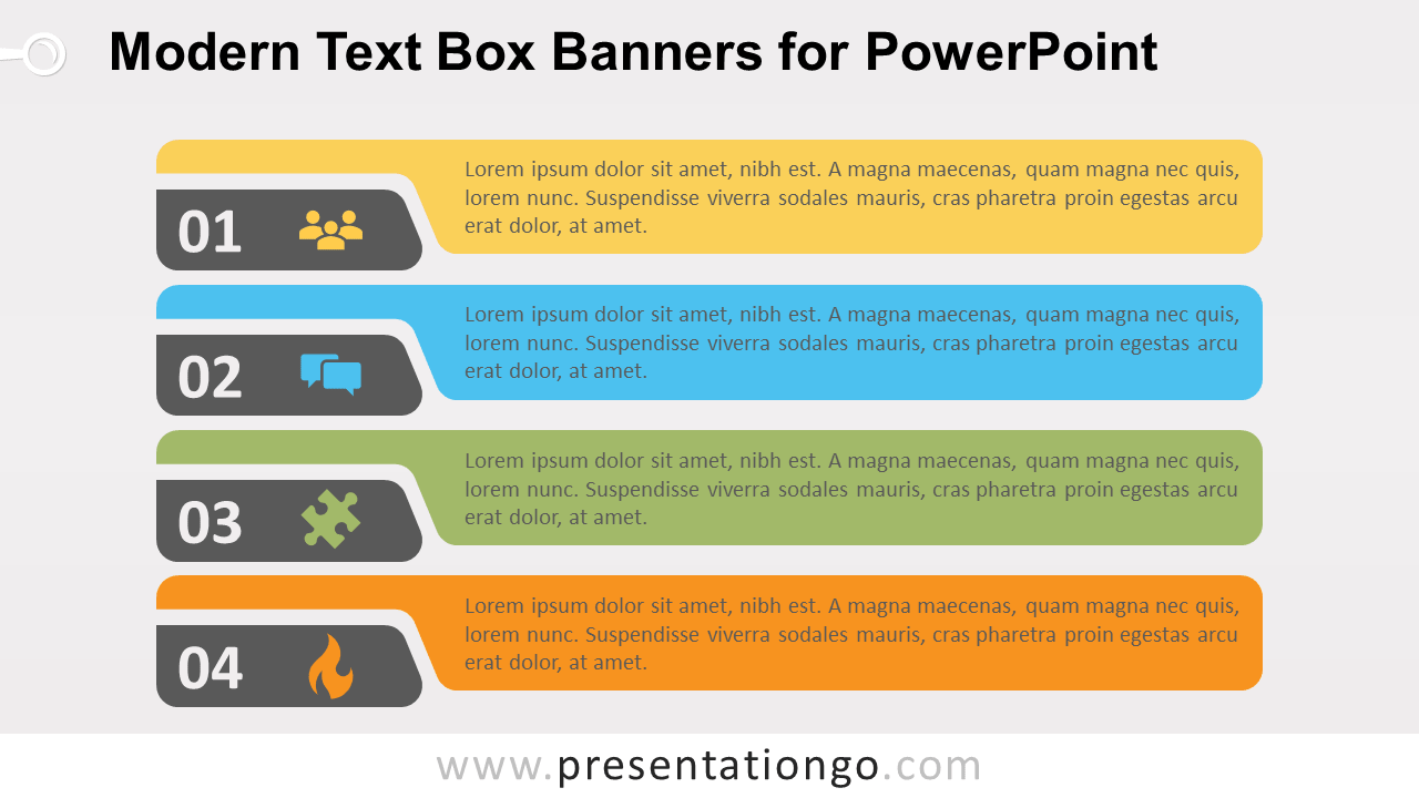 Free Modern Horizontal Text Boxes for PowerPoint