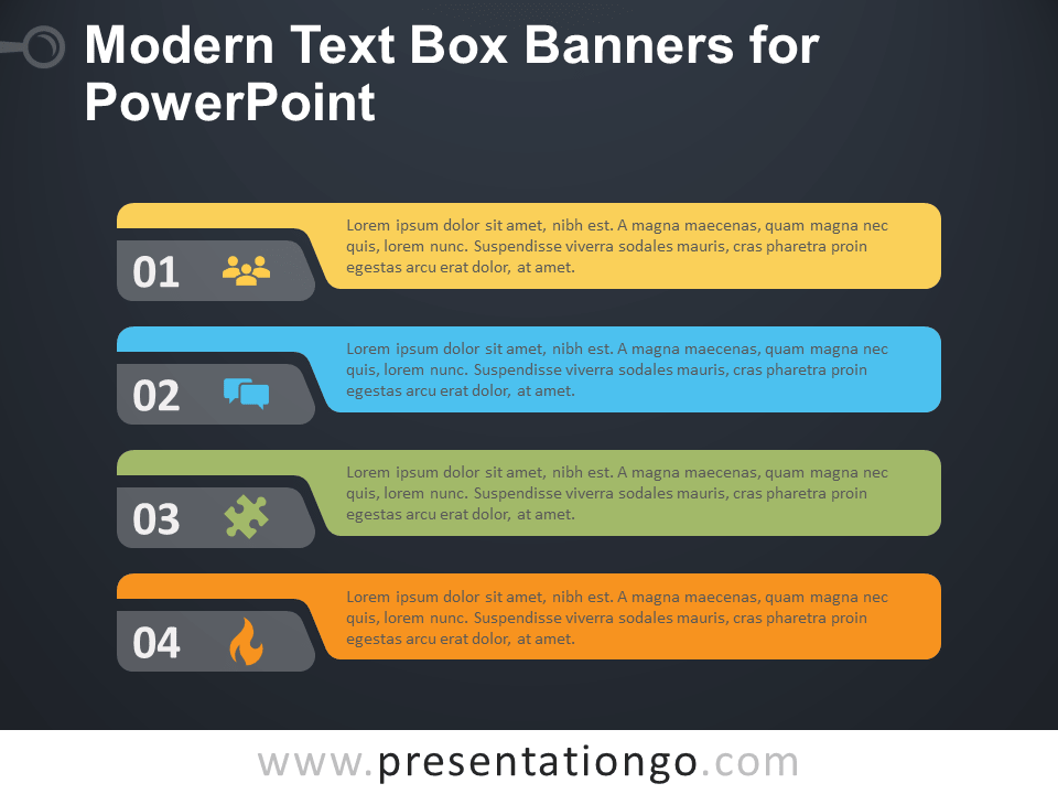 Free Modern Text Boxes for PowerPoint - Dark Background