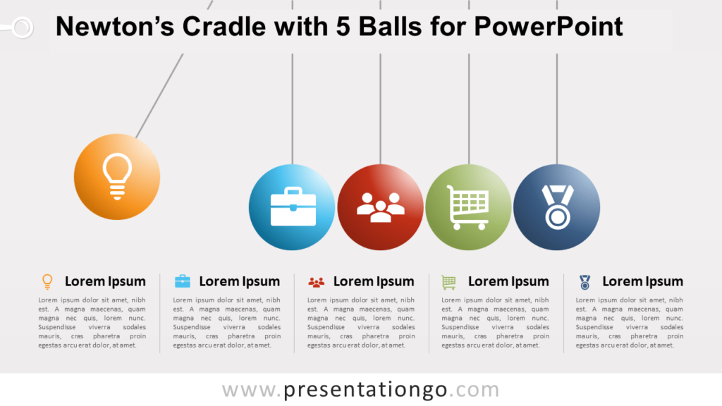 Newton's Cradle with 5 Balls for PowerPoint