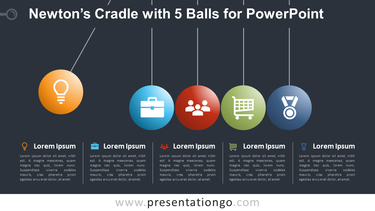 Newton's Cradle with 5 Balls for PowerPoint - Dark Background