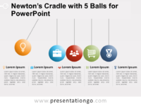 Free Newton's Cradle with 5 Balls for PowerPoint