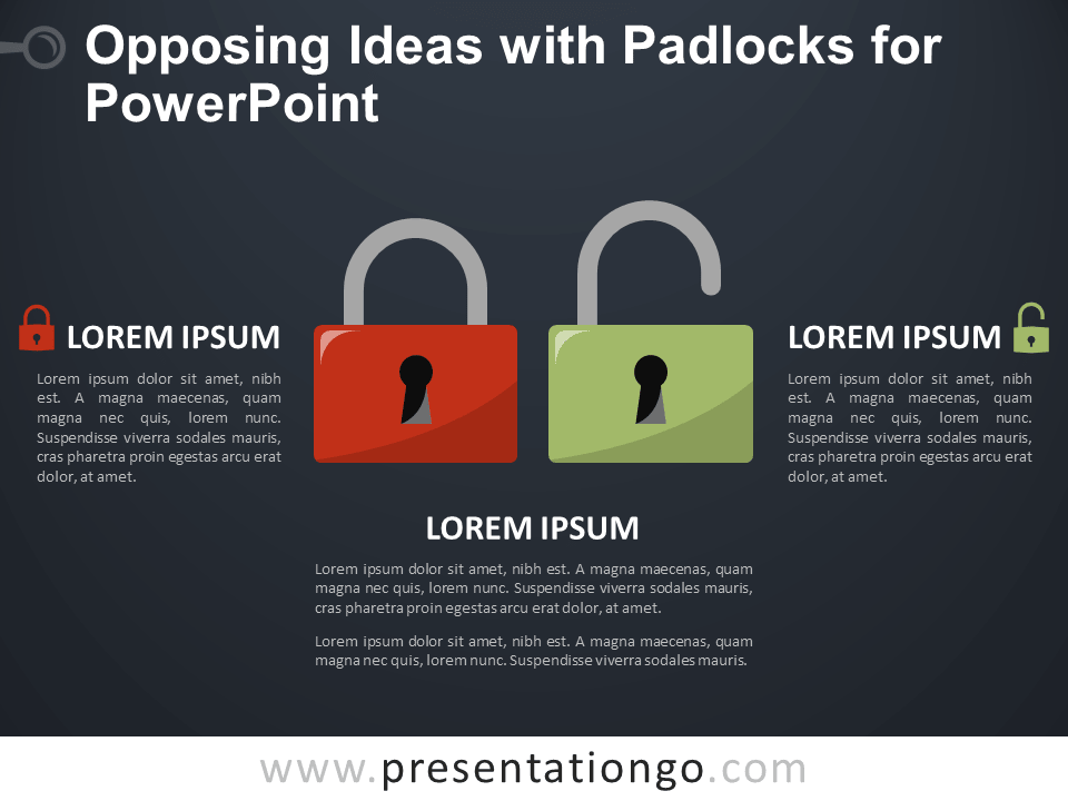 Free Opposing Ideas with Padlocks for PowerPoint - Dark Background