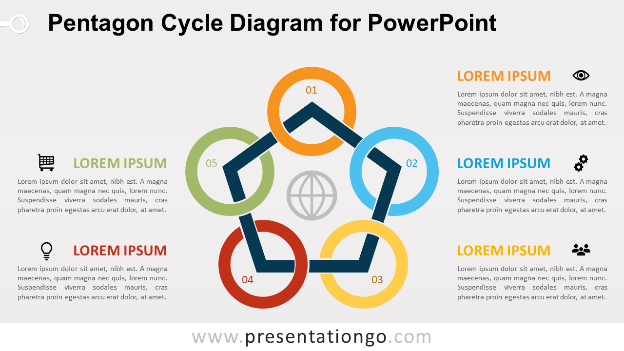 Free Pentagon Cycle and Circles Diagram for PowerPoint