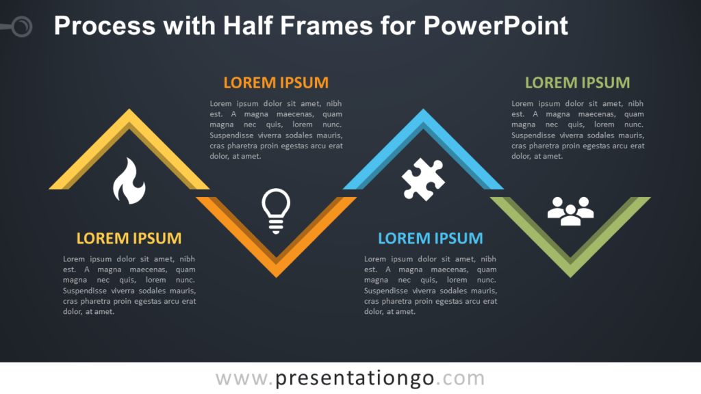 Free Process Diagram with Half Frames for PowerPoint - Dark Background