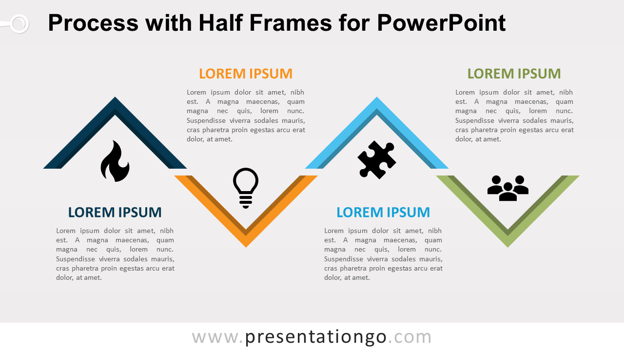 Free Process Diagram with Half Frames for PowerPoint