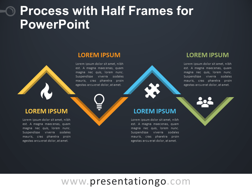 Free Process with Half Frames for PowerPoint - Dark Background