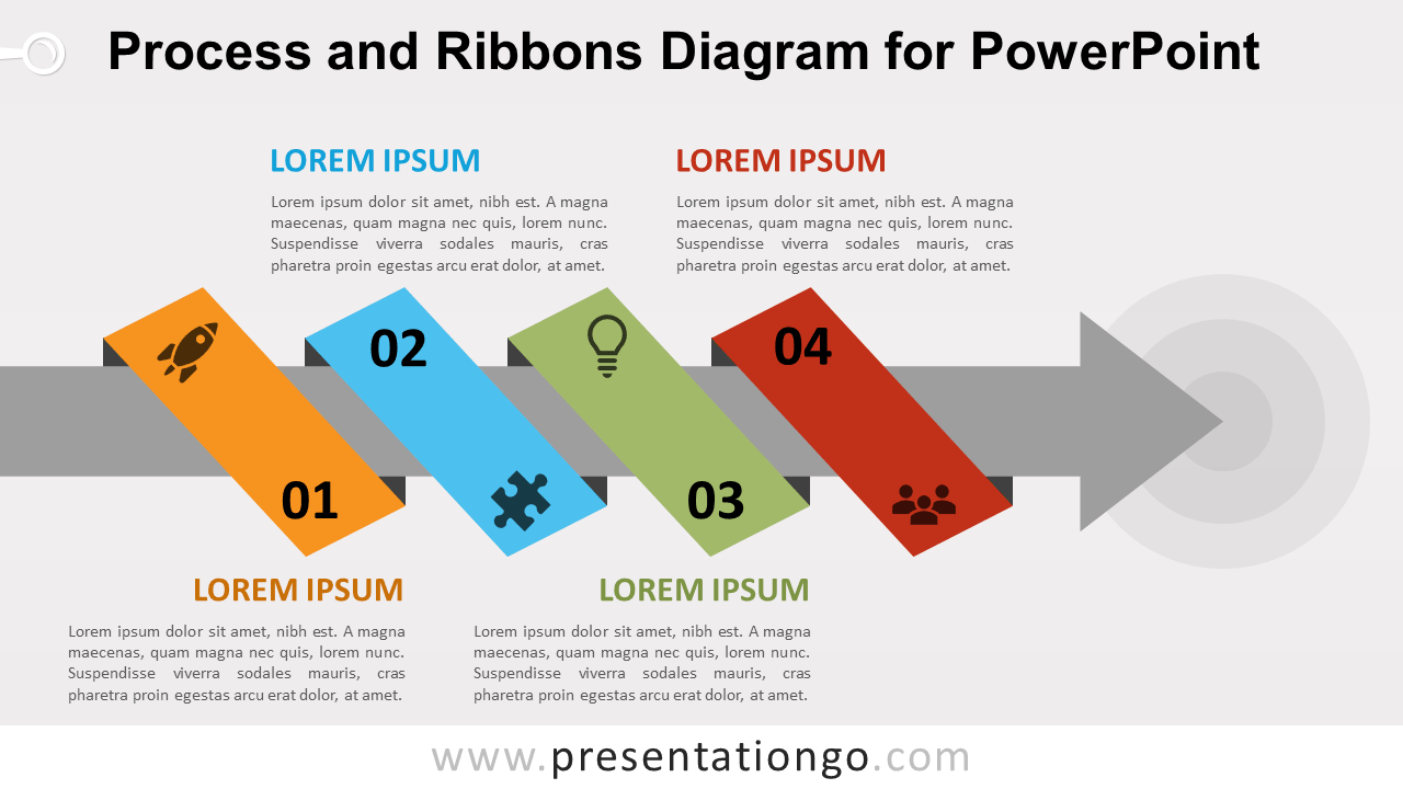Free Process with Ribbon and Arrow for PowerPoint