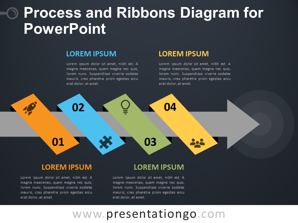 Free Process and Ribbons Diagram for PowerPoint - Dark Background