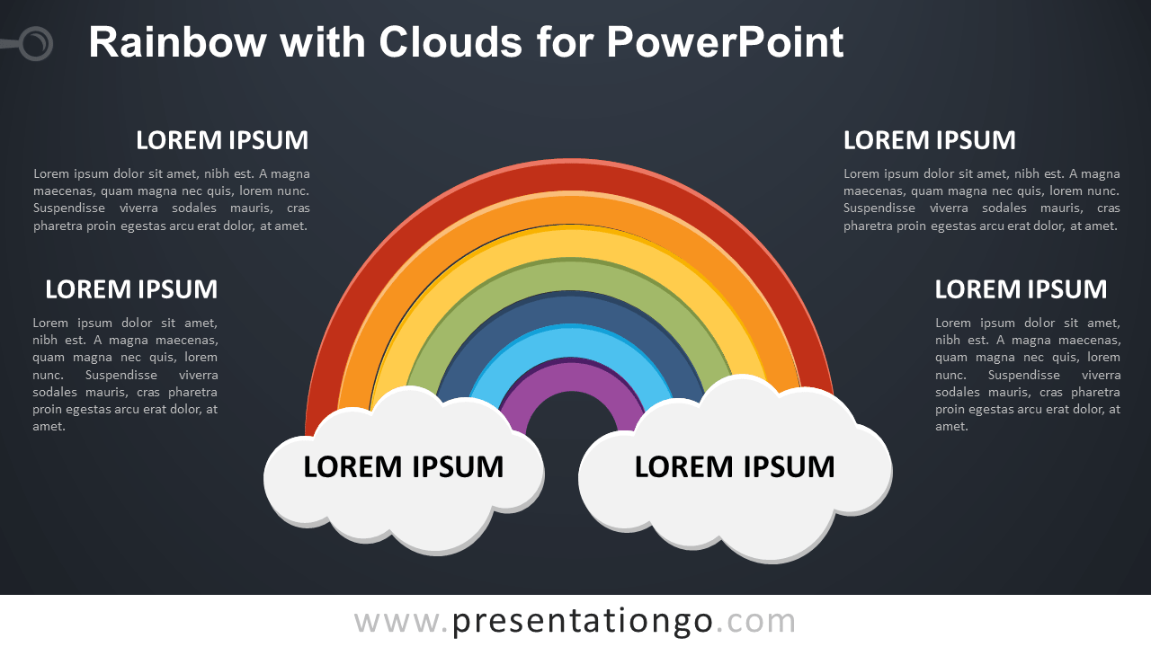Free Rainbow with 2 Clouds for PowerPoint - Dark Background