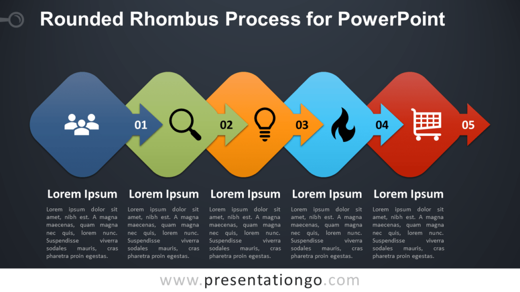 Free Rounded Rhombus Process Diagram for PowerPoint - Dark Background