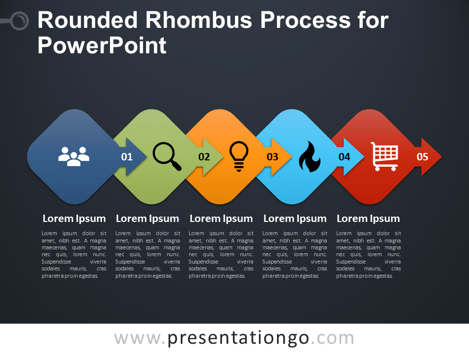 Free Rounded Rhombus Process for PowerPoint - Dark Background
