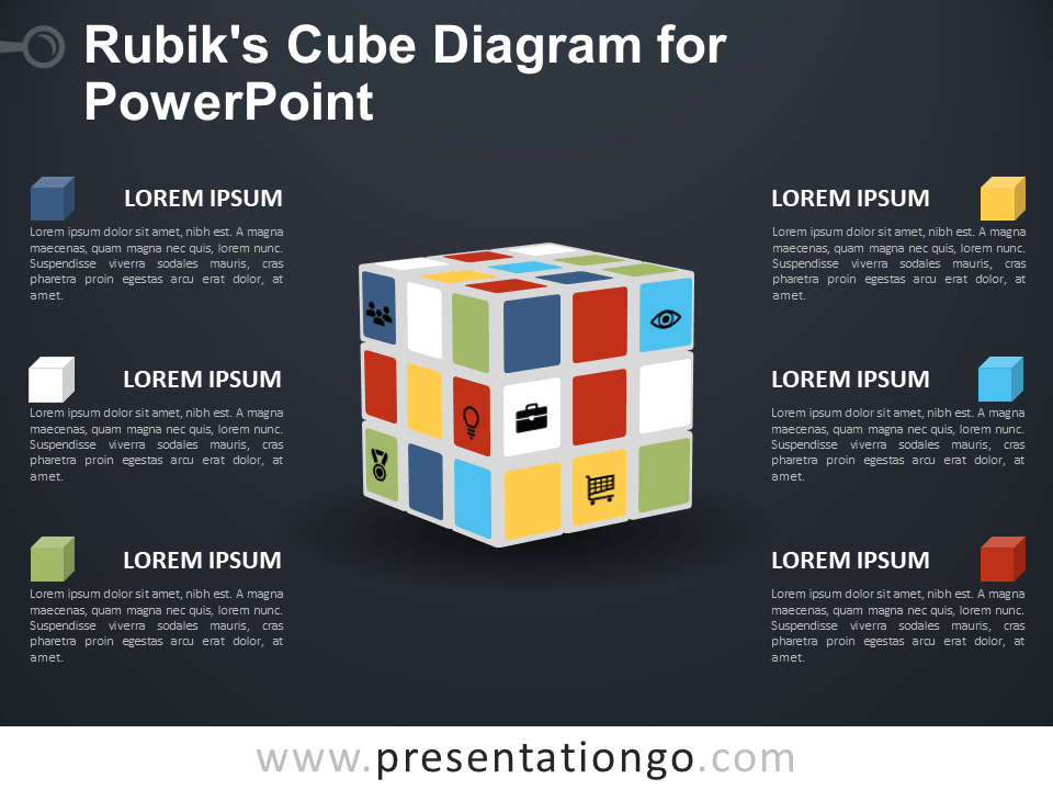 Free Rubik's Cube Diagram for PowerPoint - Dark Background