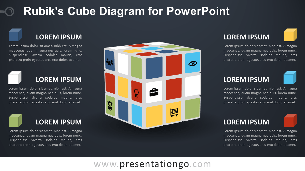 Free Rubik's Cube for PowerPoint - Dark Background