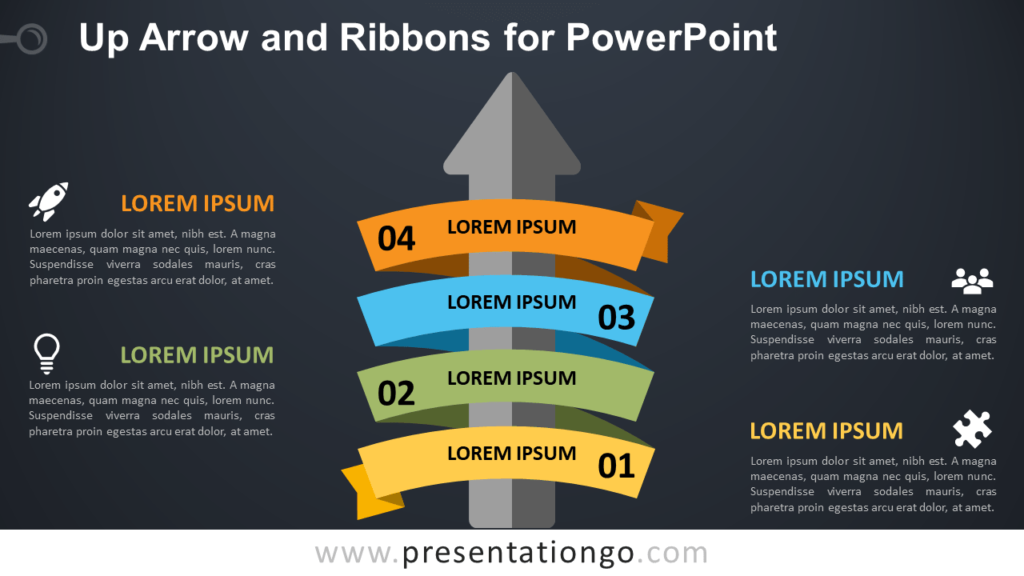 Up-Arrow and Ribbon for PowerPoint - Dark Background