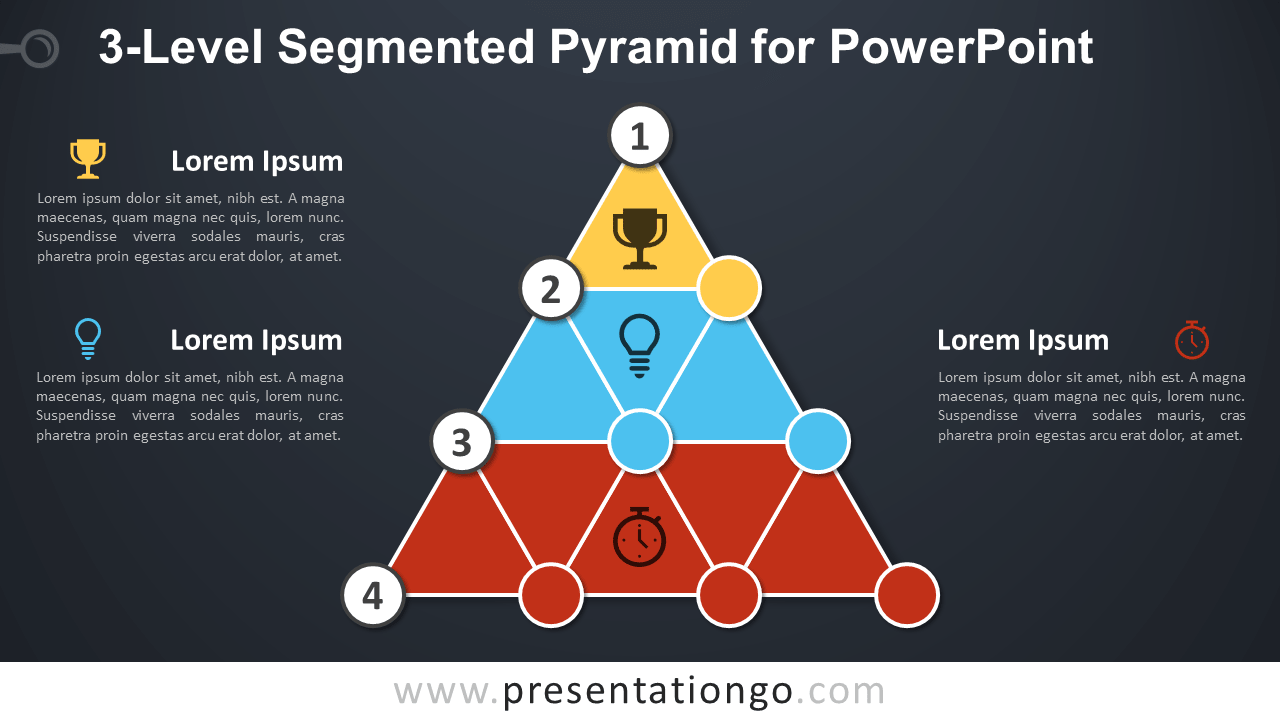 3-Level Segmented Pyramid for PowerPoint - Dark Background