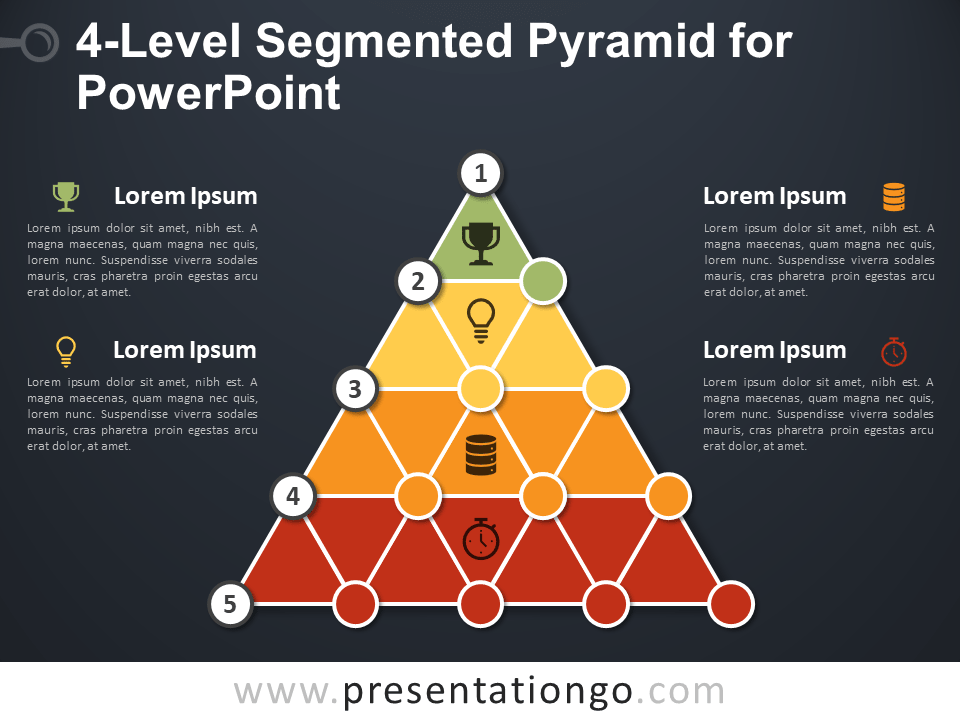 Free 4-Level Segmented Pyramid for PowerPoint - Dark Background
