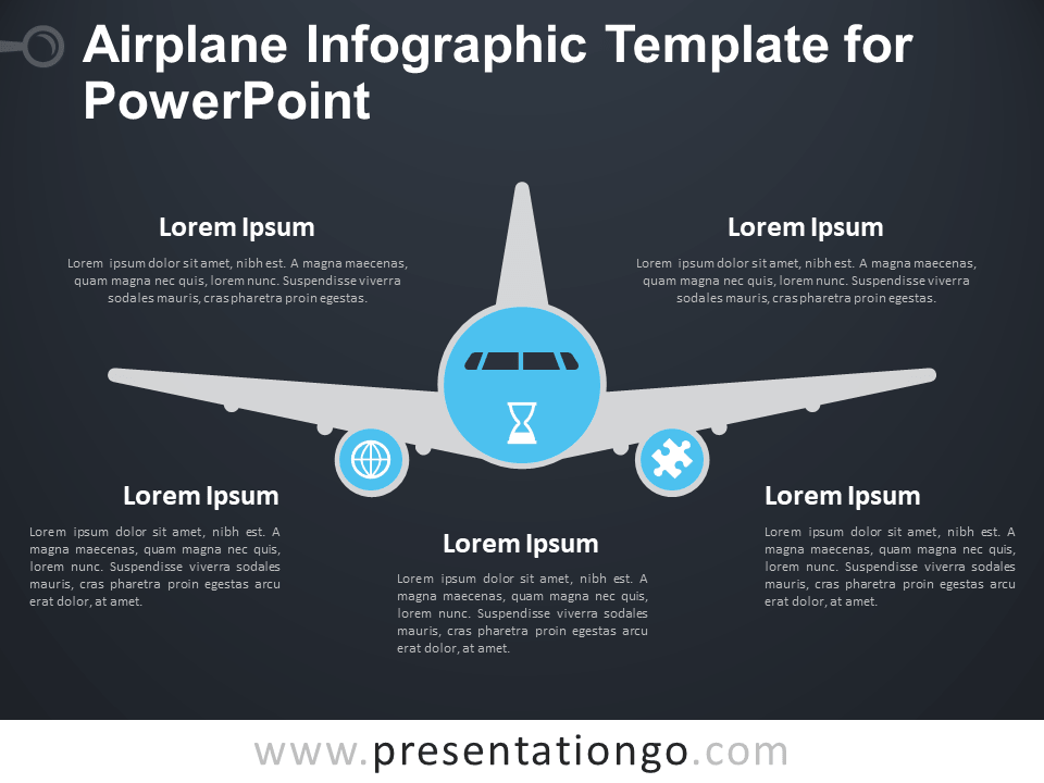 Free Airplane Infographic Template for PowerPoint - Dark Background
