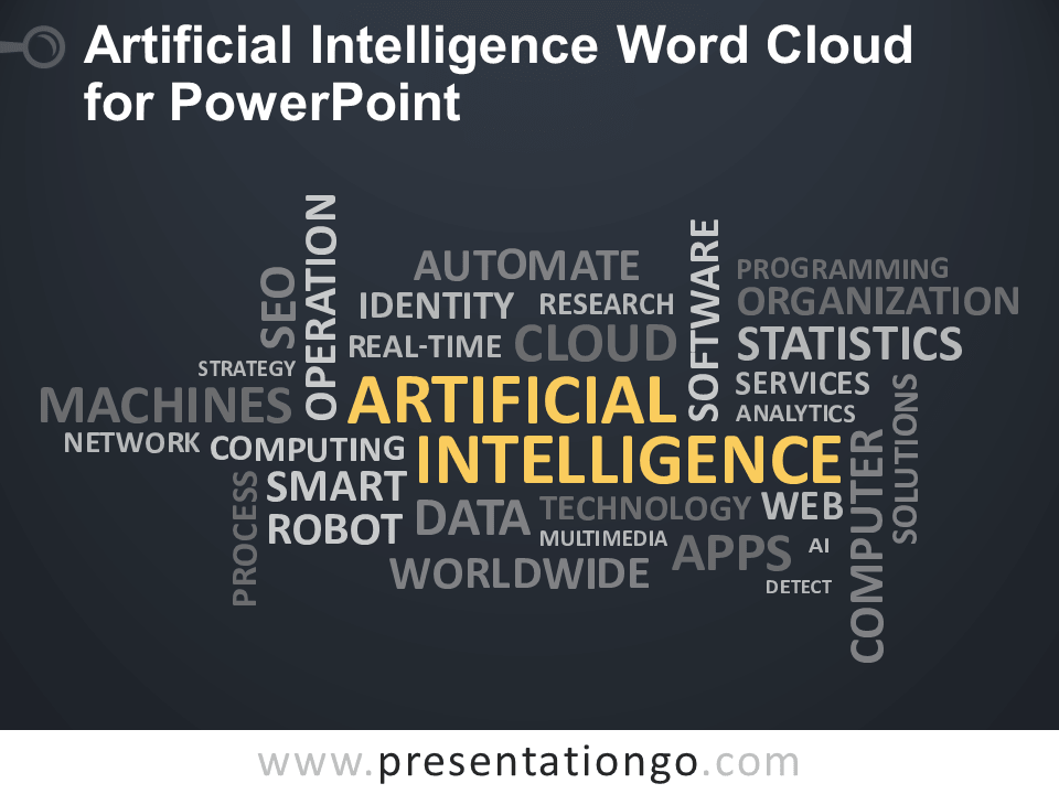 Free Artificial Intelligence Word Cloud for PowerPoint - Dark Background