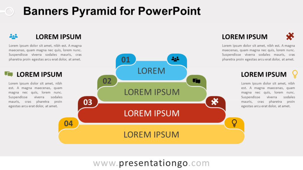 Free Banners Pyramid Diagram for PowerPoint
