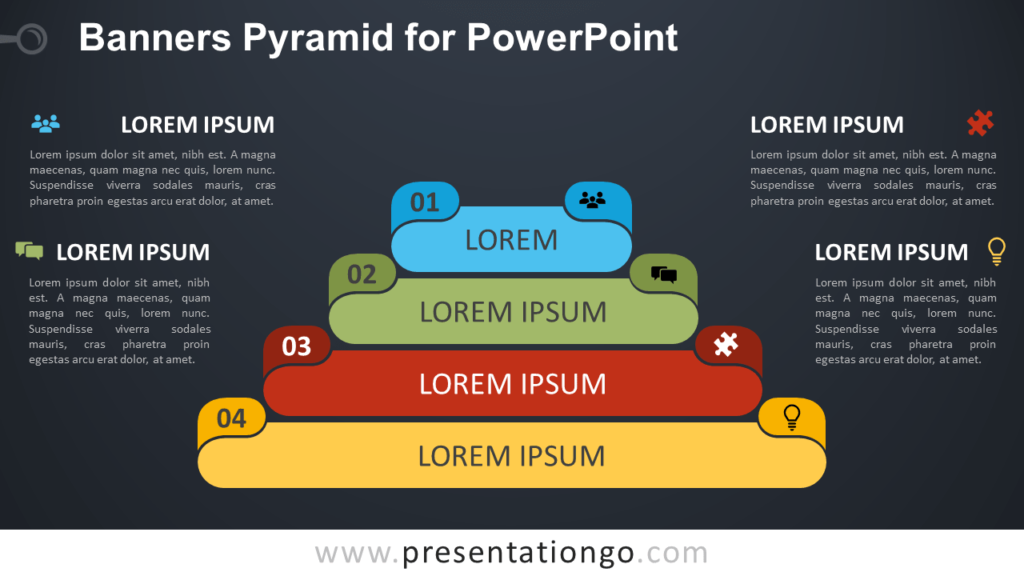 Free Banners Pyramid Diagram for PowerPoint - Dark Background