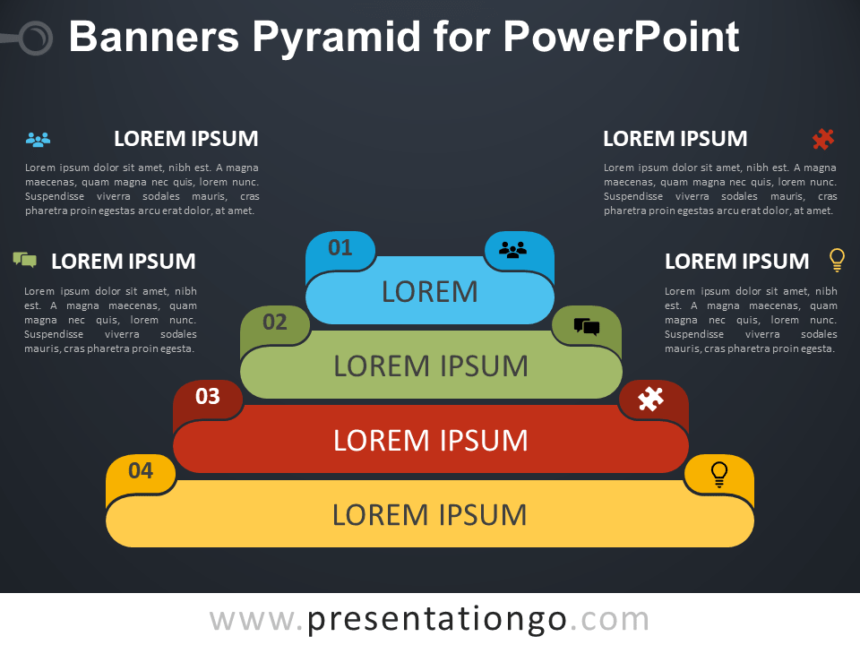 Free Banners Pyramid for PowerPoint - Dark Background