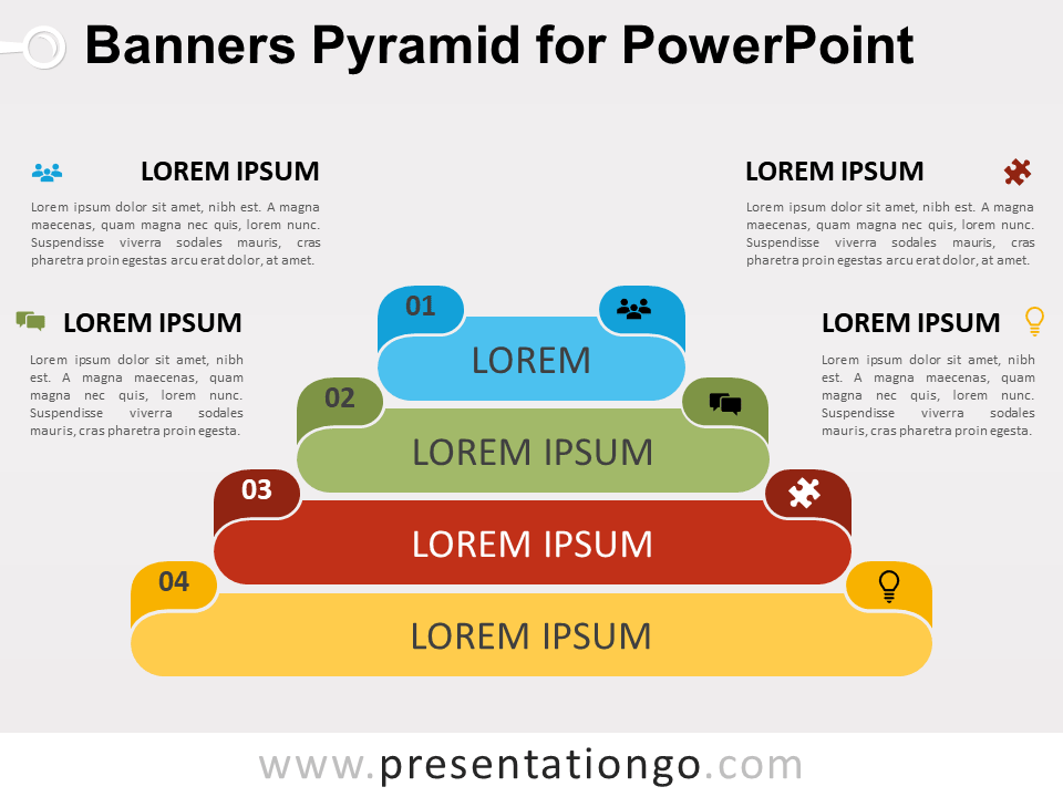 Free Banners Pyramid for PowerPoint