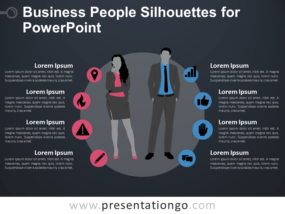 Free Business People Silhouettes for PowerPoint - Dark Background
