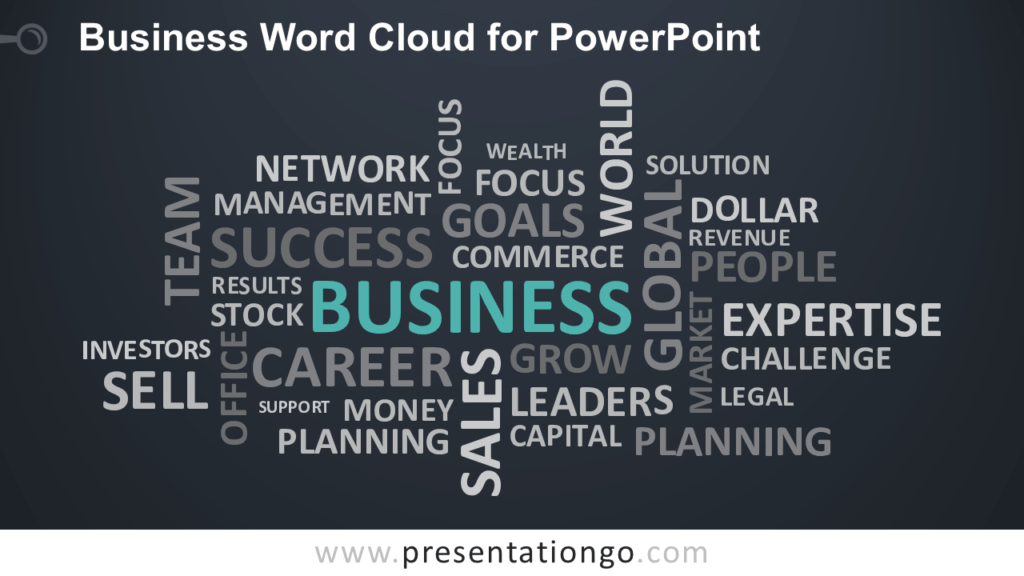 Free Business Word Tag Cloud for PowerPoint - Dark Background