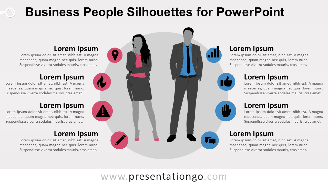 Free Businesswoman and Businessman Silhouettes for PowerPoint