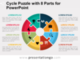 Free Cycle Puzzle with 8 Parts for PowerPoint