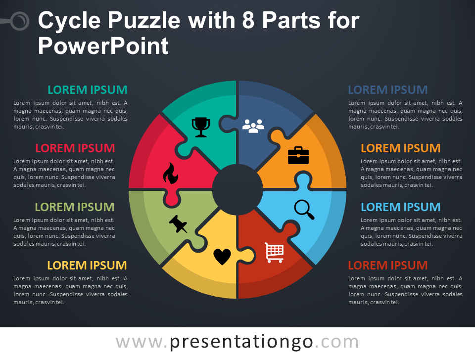 Cycle Puzzle with 8 Parts for PowerPoint - Dark Background