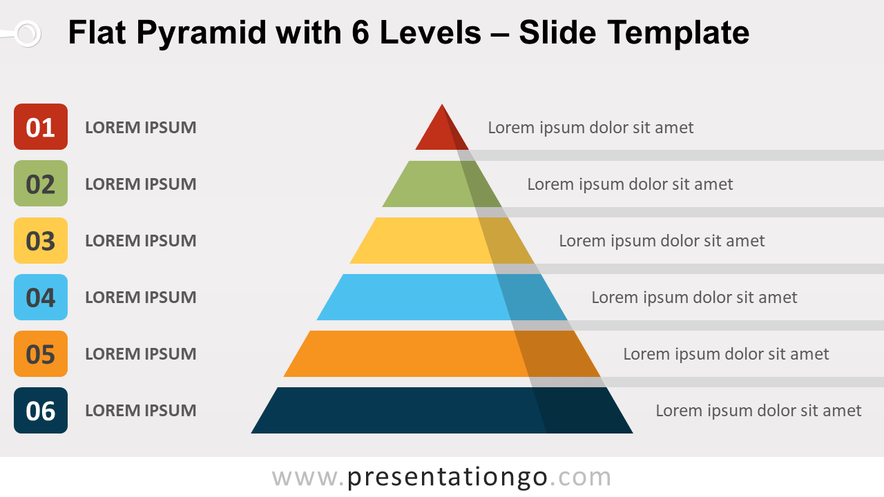 Free Flat Pyramid with 6 Levels for PowerPoint and Google Slides