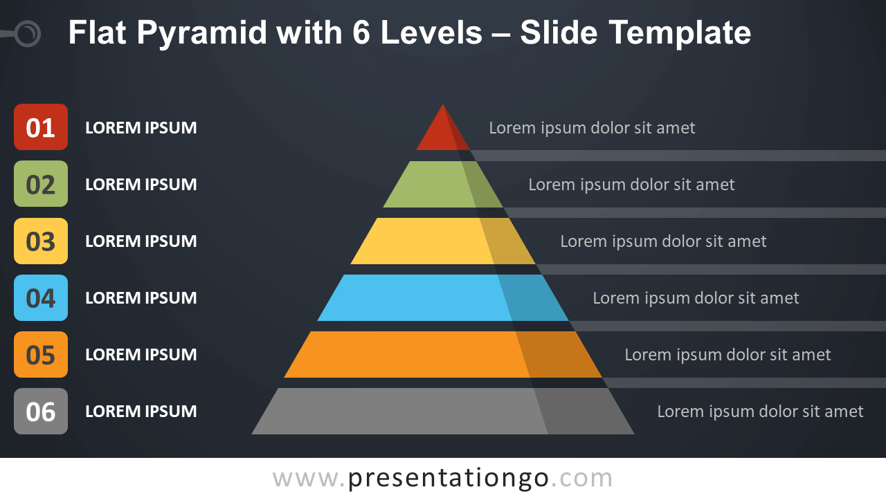 Free Flat Pyramid with 6 Levels Template Presentation