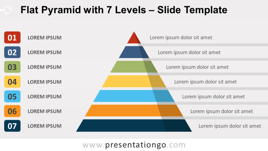Free Flat Pyramid with 7 Levels for PowerPoint and Google Slides