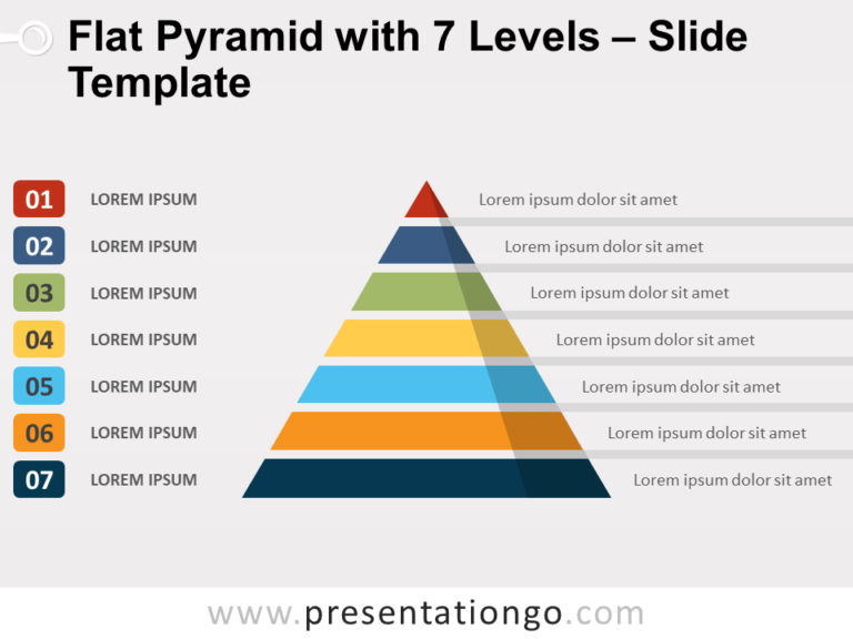 Free Flat Pyramid with 7 Levels Slide Template