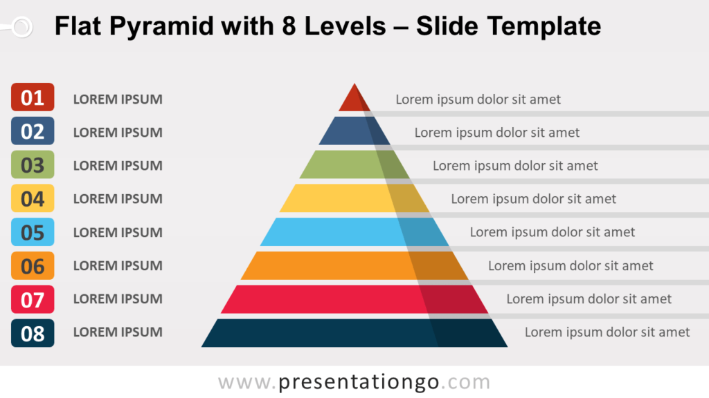 Free Flat Pyramid with 8 Levels for PowerPoint and Google Slides