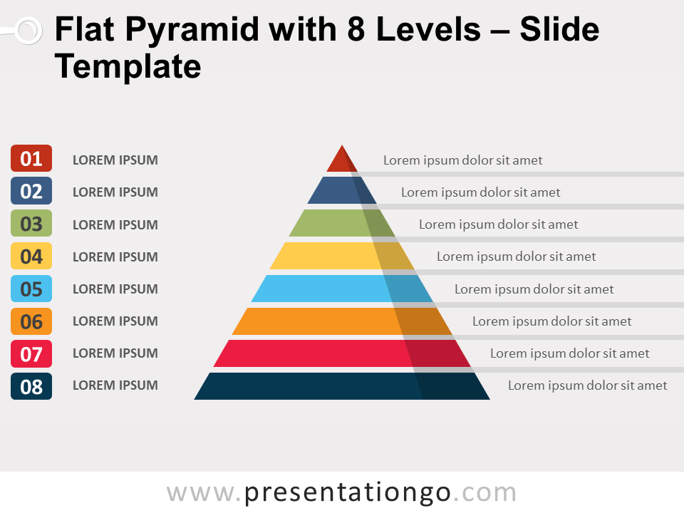 Free Flat Pyramid with 8 Levels Slide Template